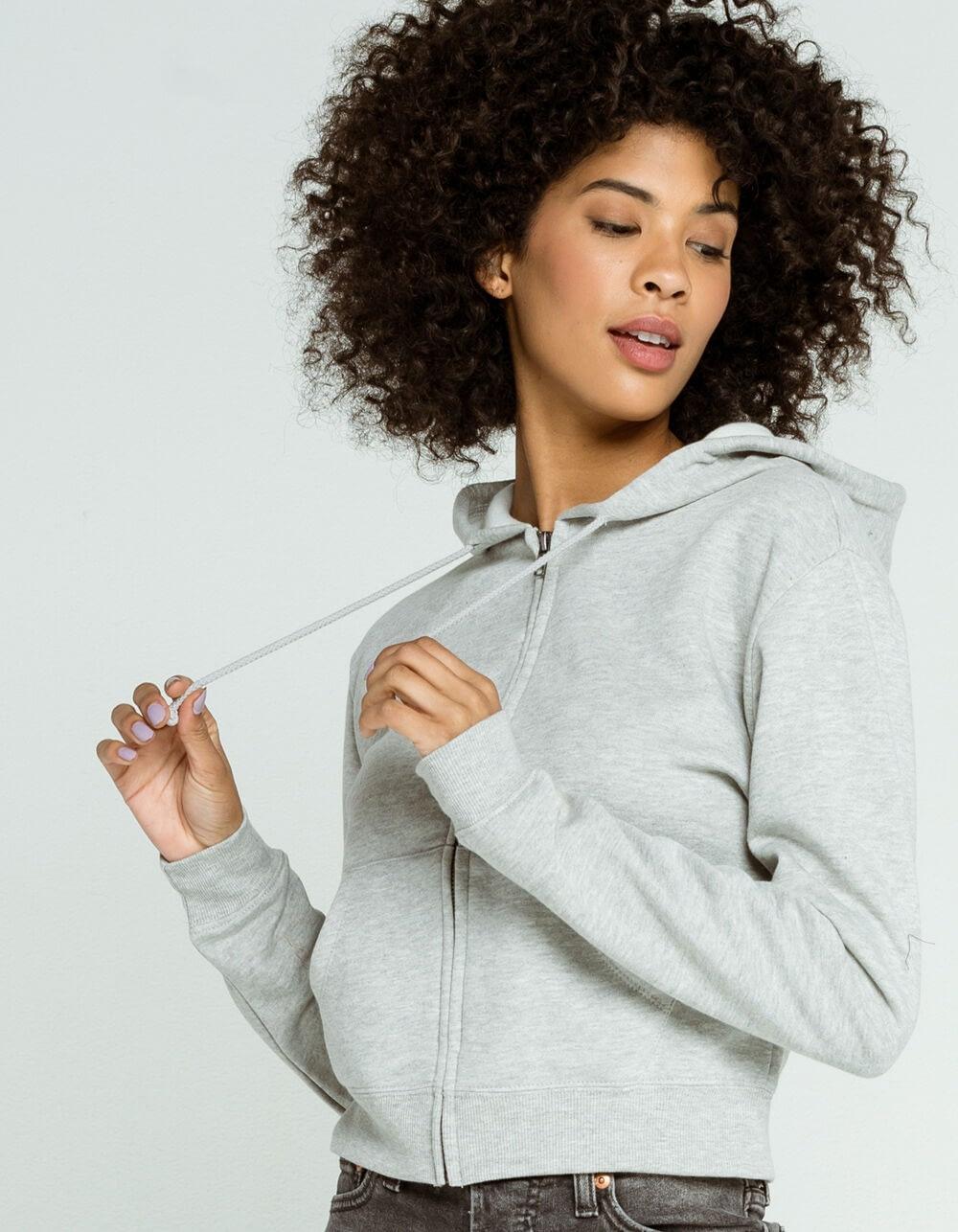 heather grey zip hoodie